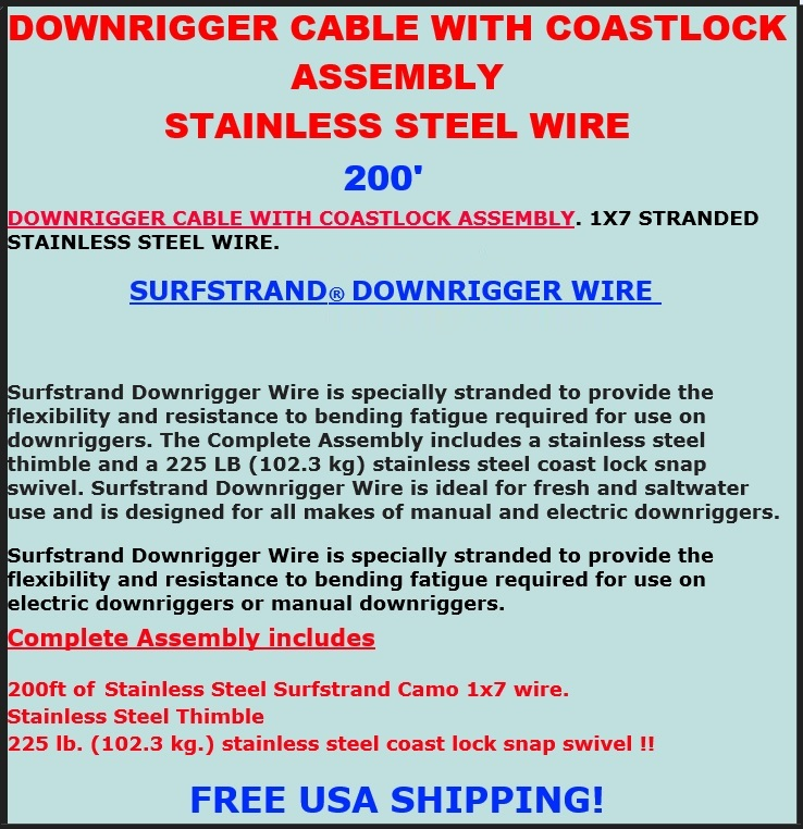 AFW SURFSTRAND DOWNRIGGER CABLE WIRE ASSEMBLY
