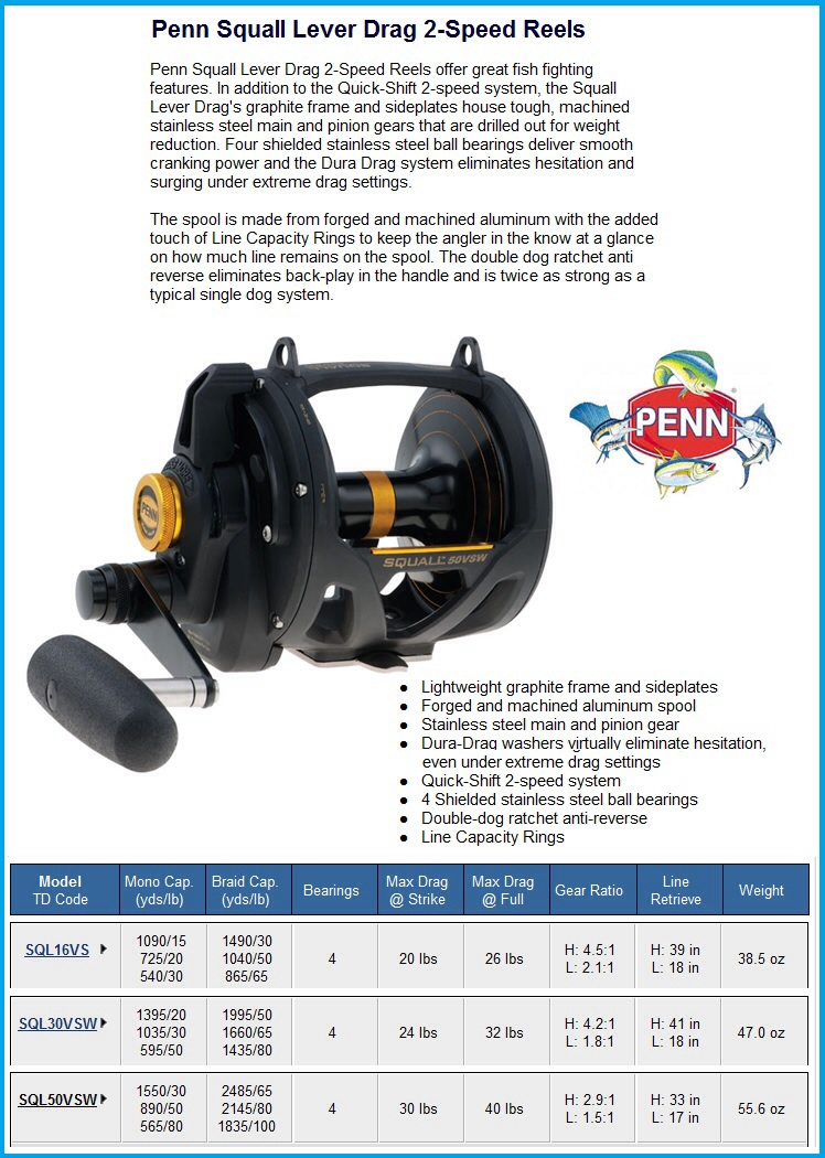 Penn Squall 30 Lever Drag 2 Speed Conventional Reel Sql30vsw